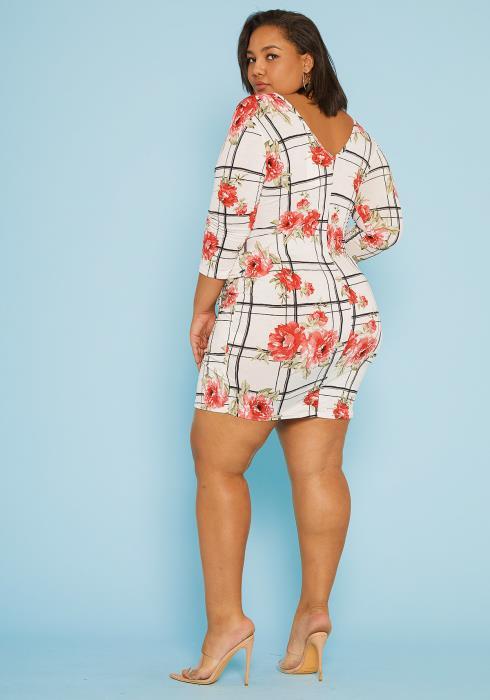 Asoph Plus Size Multi Print Wrap Bodycon Dress