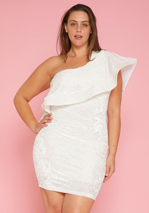 Asoph Plus Size One Shoulder Velvet Dress