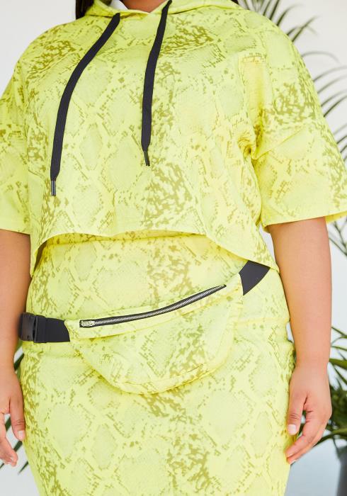 Asoph Plus Size Crop Hoodie & Pencil Skirt Set