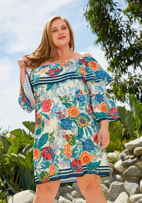 Asoph Plus Size Floral Tunic Dress