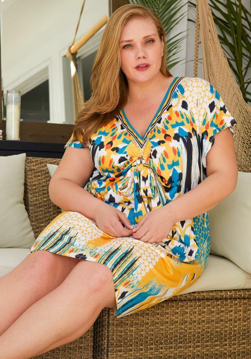 Asoph Plus Size Multi Print Tunic Dress