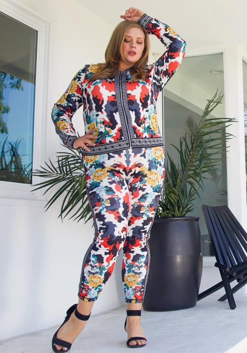 Asoph Plus Size Camo Floral Set