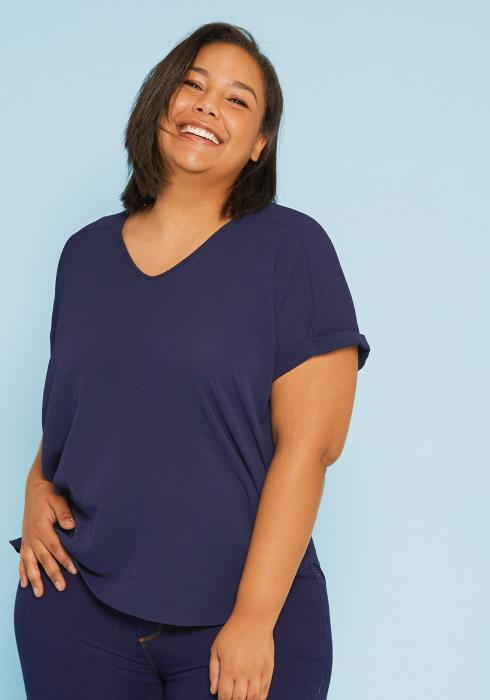 Asoph Plus Size Rolled Sleeve Blouse