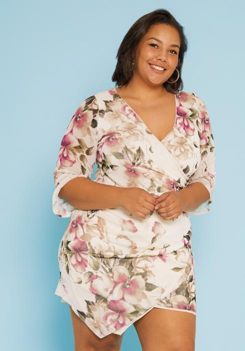 Asoph Plus Size Wrap Bodycon Dress