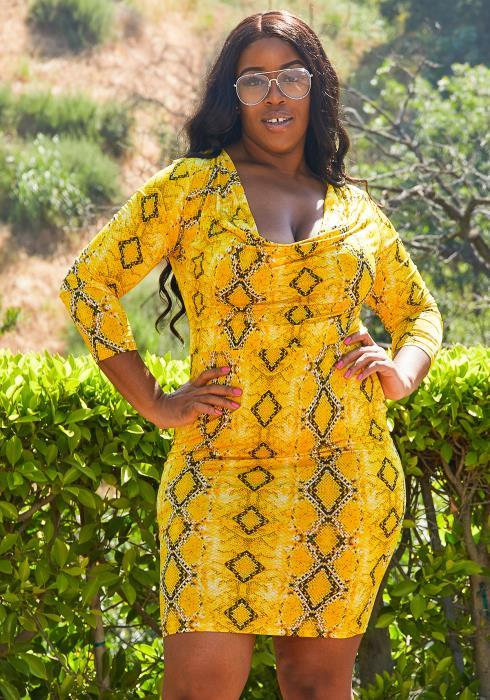 Asoph Plus Size Snake Print Bodycon Dress
