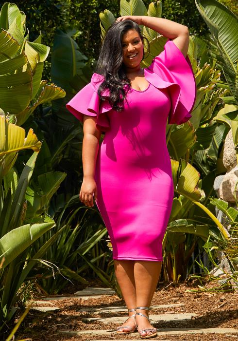 Asoph Plus Size Fitted Midi Dress