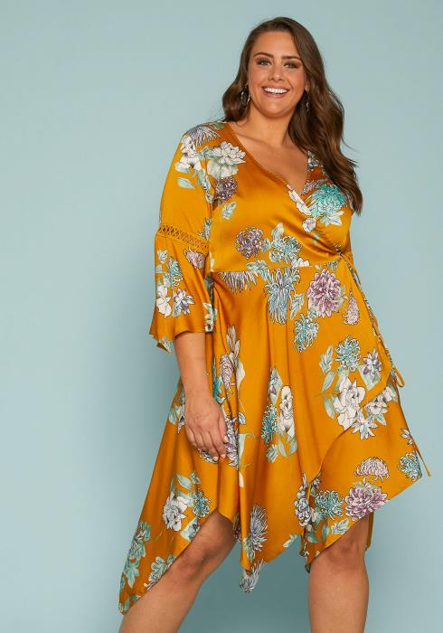 Asoph Plus Size Floral Wrap Dress