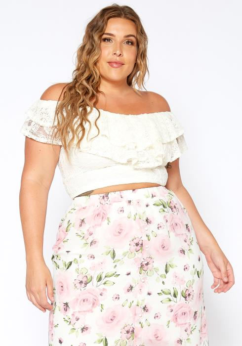 Asoph Plus Size Off Shoulder Vintage Ruffle Crop Top