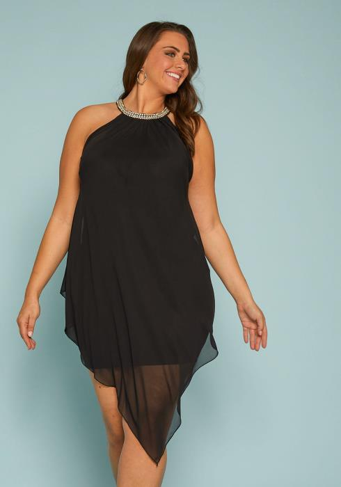 Asoph Plus Size Chiffon Handkerchief Dress