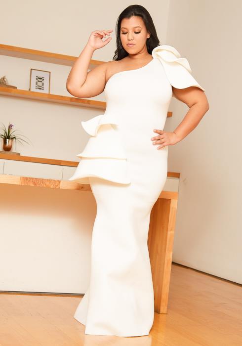 Asoph Plus Size Petal Accent Gown