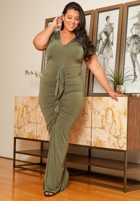 Asoph Plus Size Ruched Gown