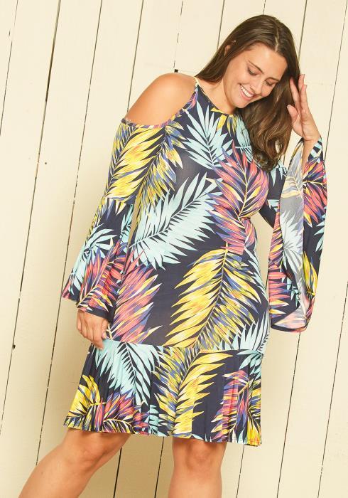Asoph Plus Size Floral Print Midi Dress