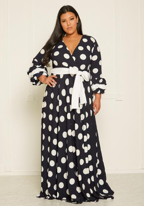 Asoph Plus Size Polka Dot Flare Maxi Dress