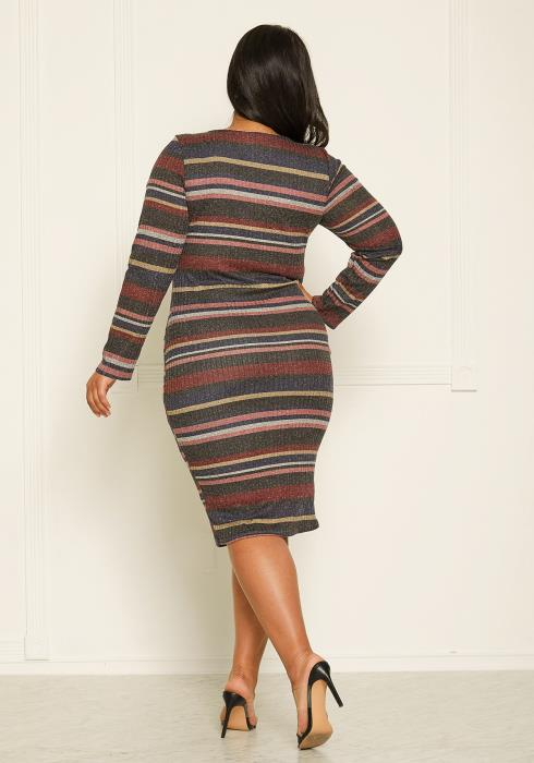 Asoph Plus Size Stripe Ribbed Midi Dress