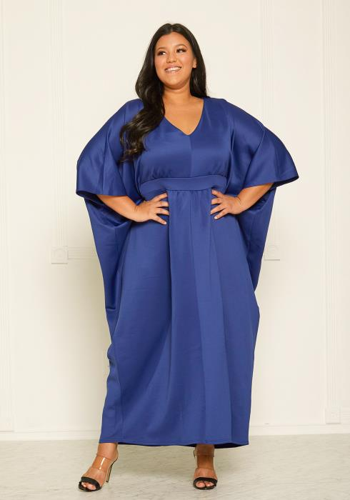Plus Size Empire Batwing Maxi Dress