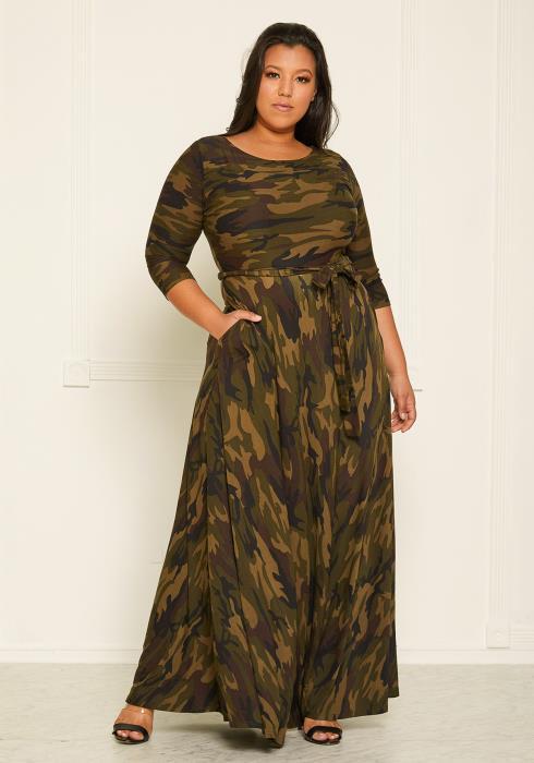 Asoph Plus Size Camo Print Flare Maxi Dress