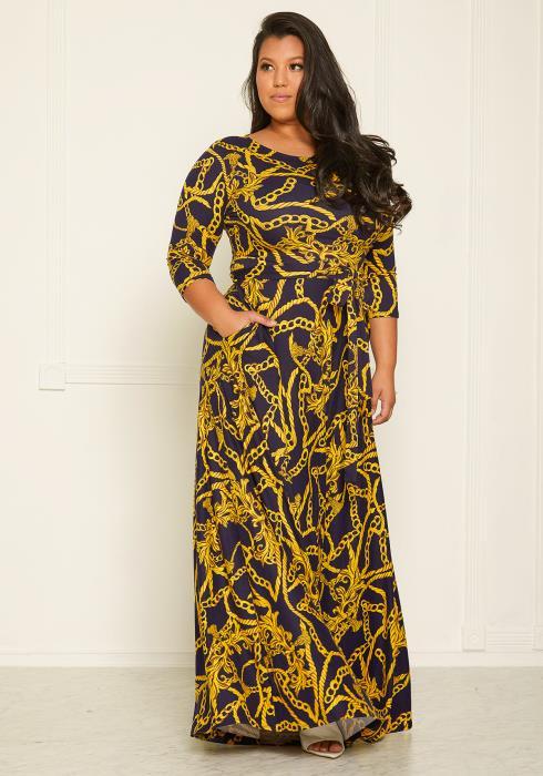 Plus Size Chain Print Flare Maxi Dress
