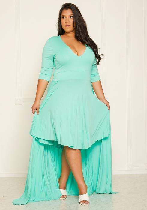 Asoph Plus Size Caped Midi Dress