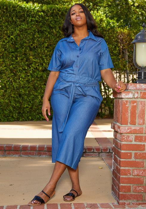 Asoph Plus Size Denim Top & Pants Set