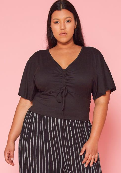 Asoph Plus Size Ruched Crop Top