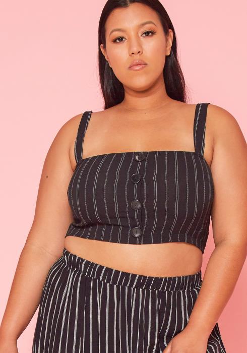 Asoph Plus Size Stripe Crop Top