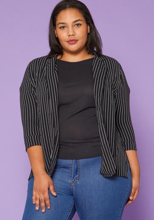 Asoph Plus Size Pinstripe Blazer