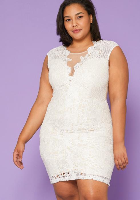 Asoph Plus Size Lace Bodycon Dress