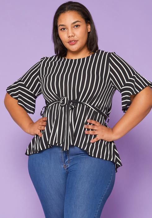 Asoph Plus Size Stripe Blouse