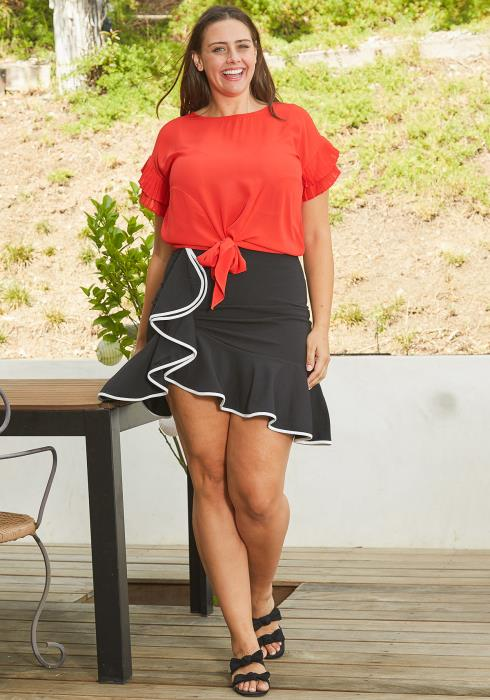 Asoph Plus Size Retro Ruffle Skirt