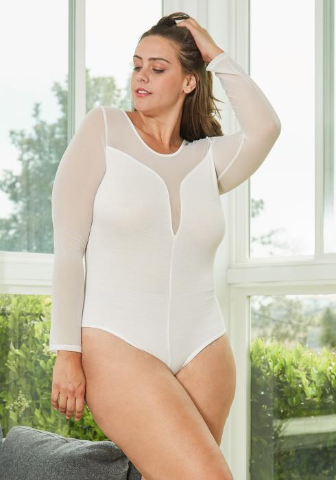 Asoph Plus Size Sheer Long Sleeves Bodysuit