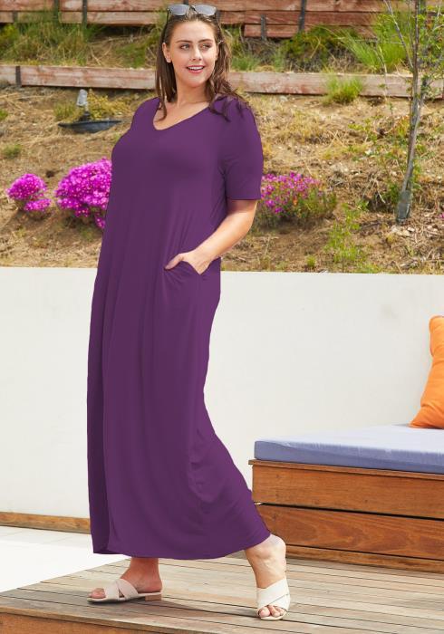Asoph Plus Size Basic T-shirt Maxi Dress