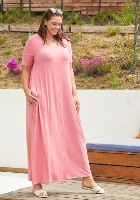 Asoph Plus Size Basic T-shirt Maxi Dress