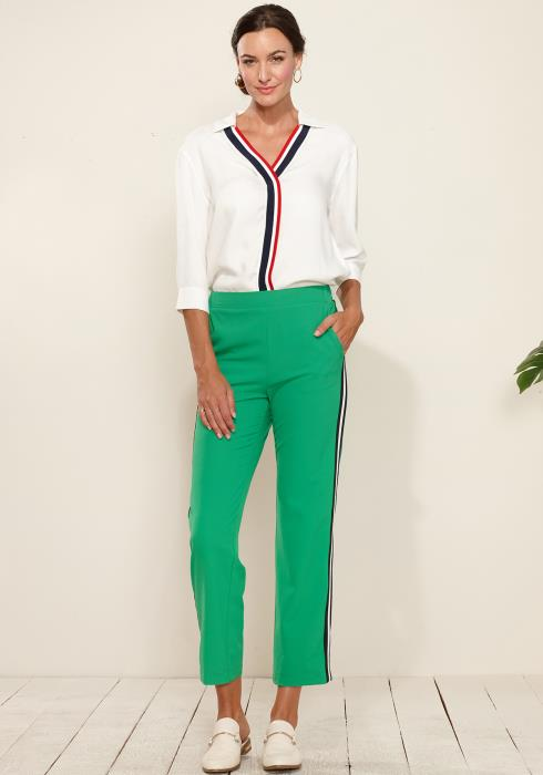 Pleione Striped Side Binding Pants
