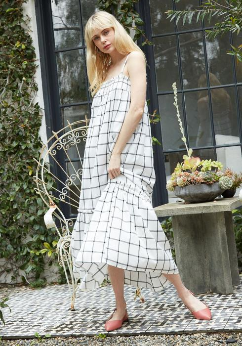 Pleione Grid Print Smocked Maxi Dress