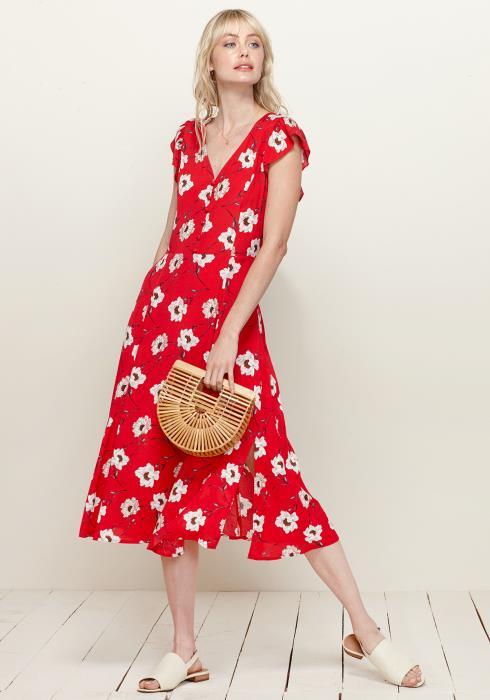 Pleione Button Front V-Neck Print Dress