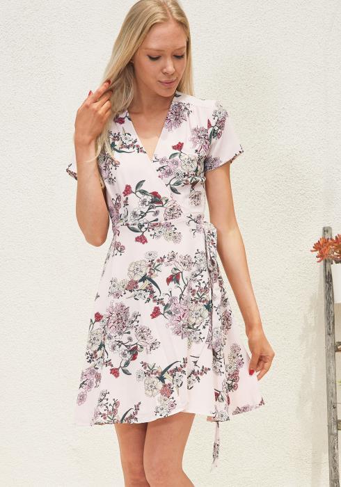 Tansy Floral Wrap Mini Dress