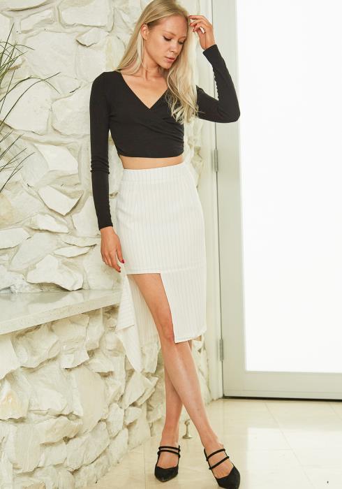 Tansy Stripe Asymmetrical Skirt