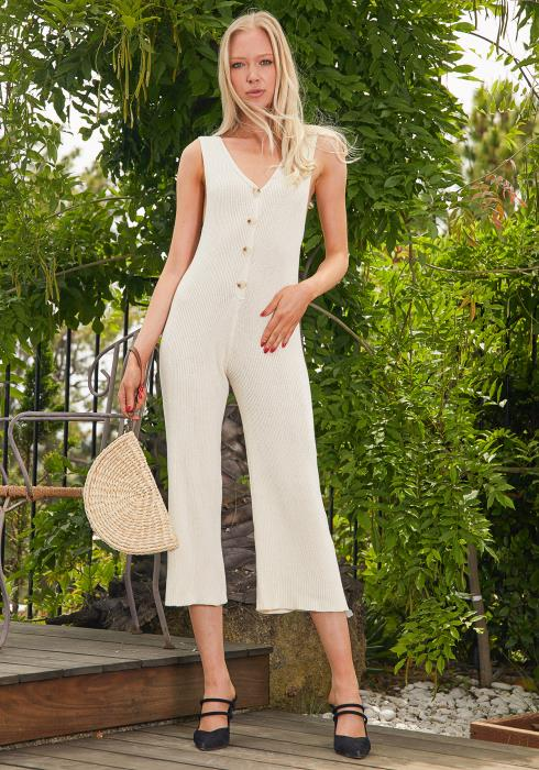 Tansy Button Up Knit Jumpsuit