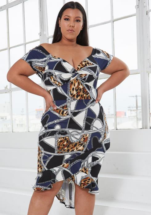 Asoph Plus Size Multi Print Wrap Midi Dress