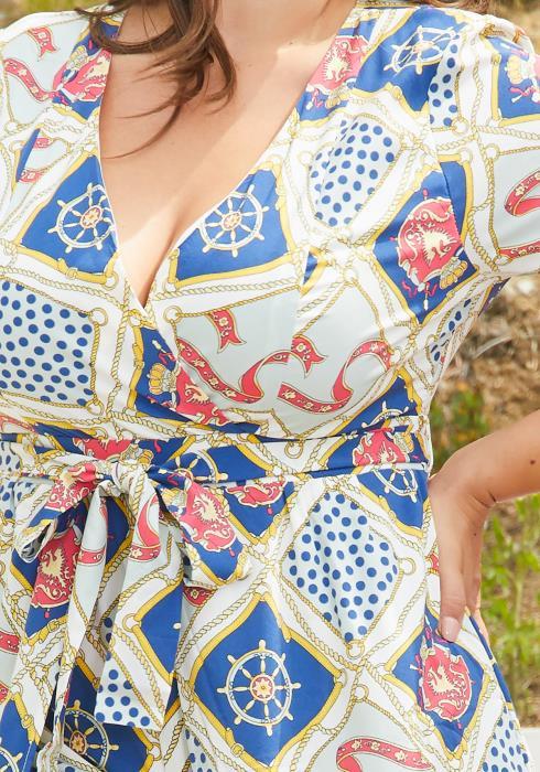 Asoph Plus Size Multi Print Cape Skirt Romper