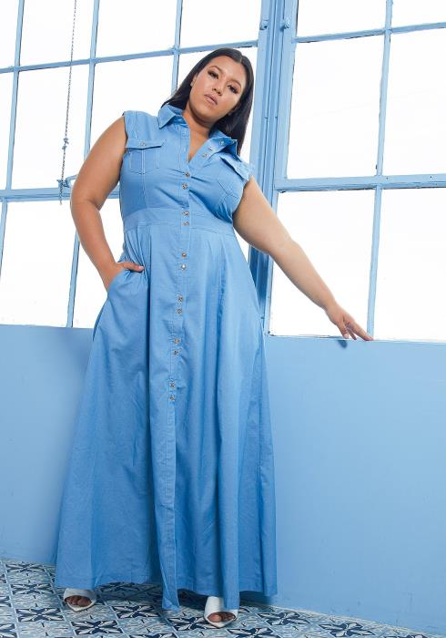 Asoph Plus Size Sleeveless Denim Maxi Dress