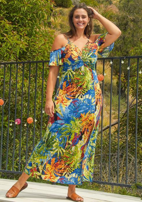 Asoph Plus Size Open Shoulder Tropical Maxi Dress