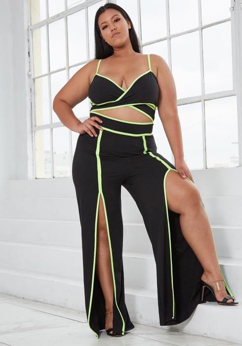 Asoph Plus Size Neon Crop Top & Pant Set
