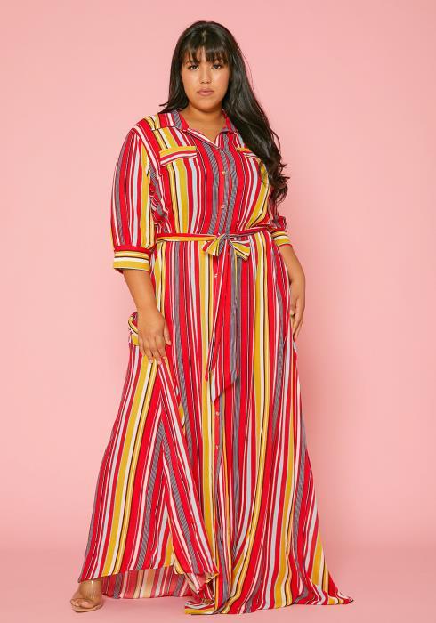 Asoph Plus Size Stripe Print Maxi Dress
