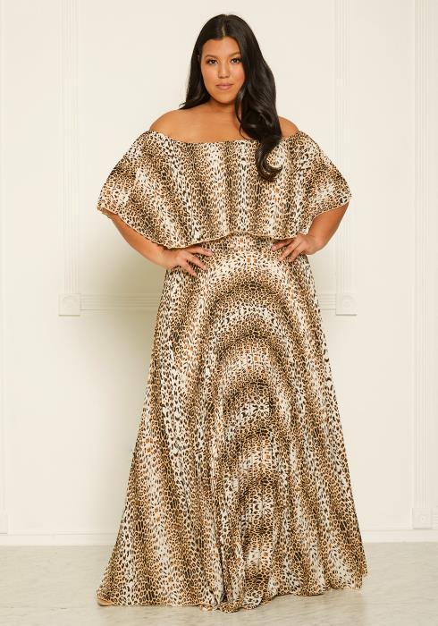 Asoph Plus Size Leopard Print Pleated Maxi Dress