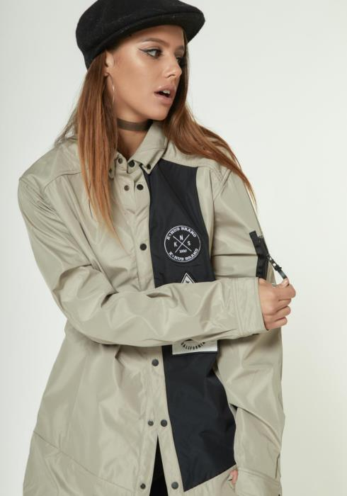 LONG SHIRT JACKET WITH CONTRAST PANEL