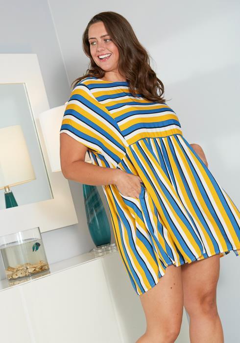 Asoph Plus Size Stripe Tunic Mini Dress