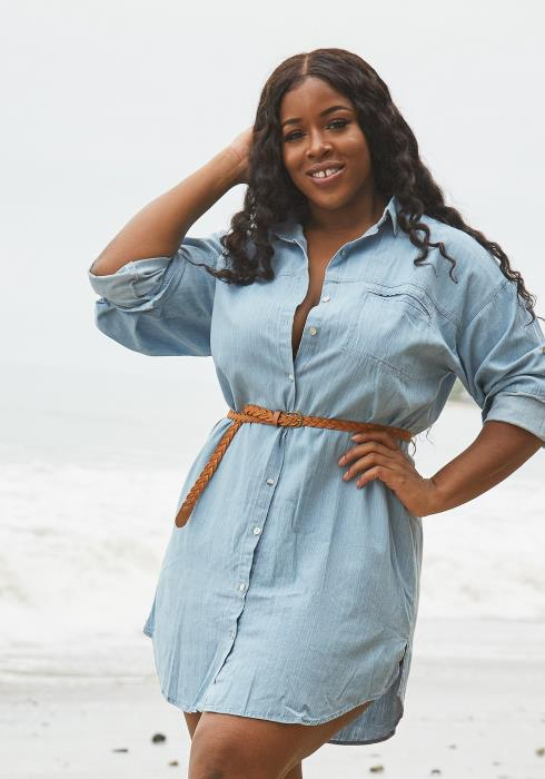 Asoph Plus Size Denim Shirt Dress