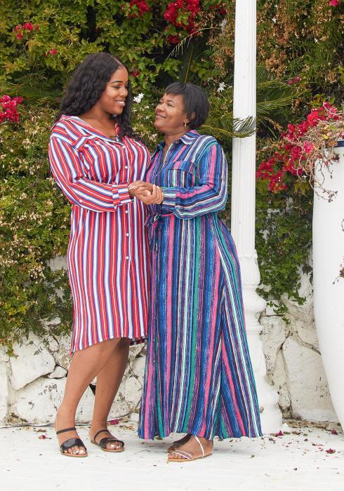 Asoph Plus Size Stripe Button Up Shirt Dress