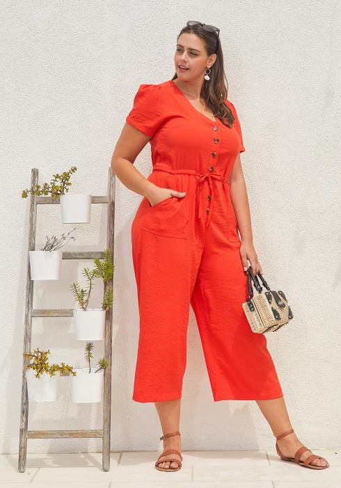 Asoph Plus Size Button Up Jumpsuit